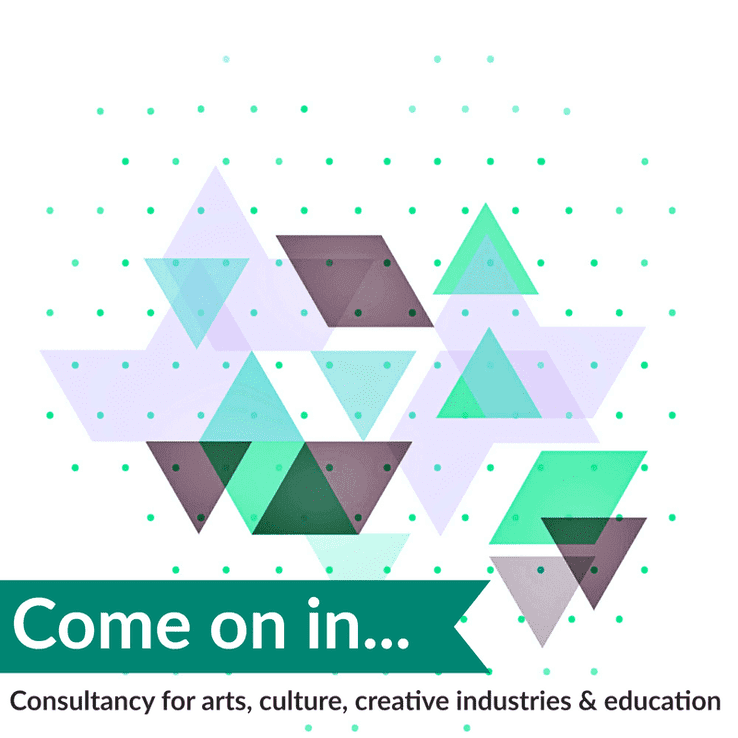 Home page for Sally Fort showing description 'Consultancy for arts, culture, creative industries and education' with a teal and lilac series of triangles
