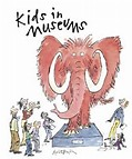 The Kids in Museums campaign logo showing a cartoon illustration of a wooly mammoth on a museum plinth, surrounded by curious looking museum visitors of all ages and abilities.