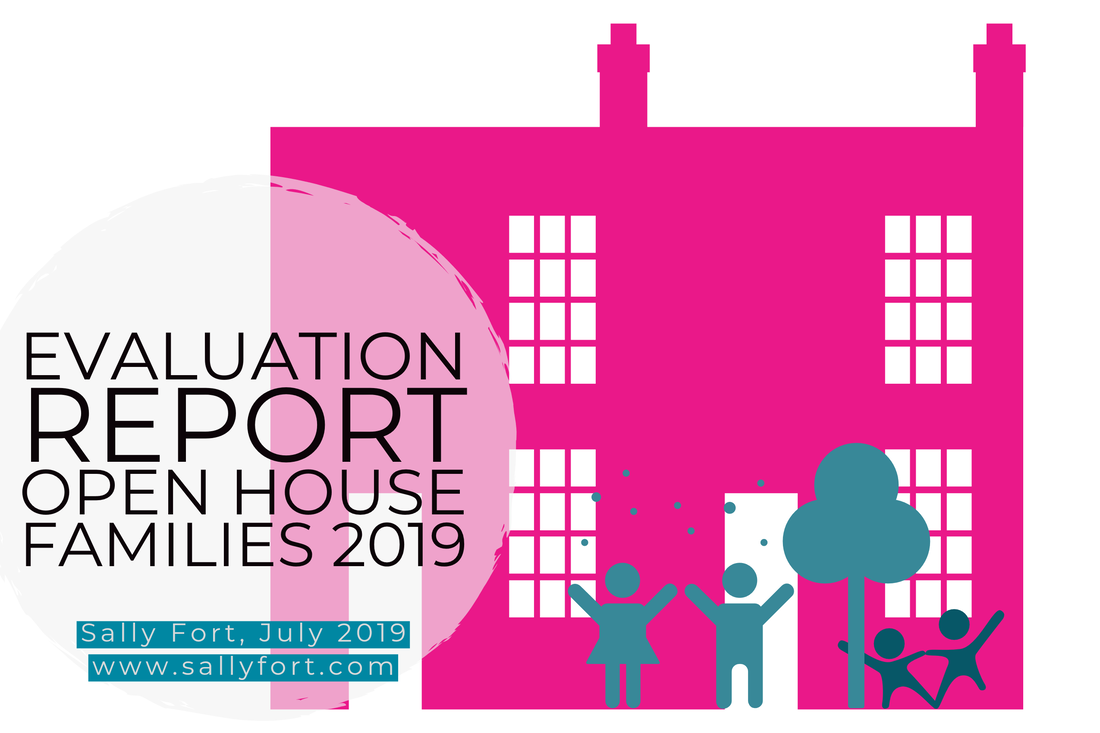 Report cover page. White background with a bright pink illustration of the silhoutte of a large house. Shows 2 adults and 2 children playing by the front door beside a large tree, all in turquoise. To the left inside a large gray circle is the title. Evaluation Report. Open House Families 2019. Sally Fort, July 2019. www.sallyfort.com