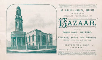 An illustrated page from a booklet made in 1896. The booklet was a guide to a bazaar being held by St Philip's Church. The background is off-white, with a lithograph printed picture of the church in green ink on the left. To its right are the details of where and when the Bazaar was held, and a small signposted note at the bottom saying, 'Pendleton Tram Cars pass the town hall every few minutes'.
