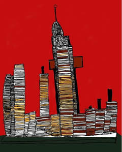 A bright red background has a drawing of tall buildings in New York. They have lots of lines across the buildings and various yellow and brown colours are used in the gaps between the lines. The picture gives a dramatic effect because of the sharp, simple lines, and vibrant red and black background colours.